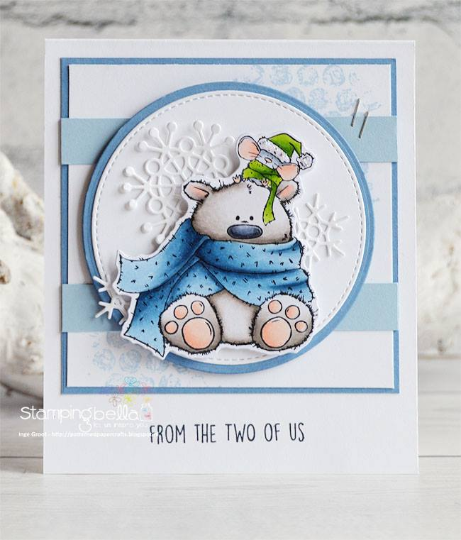 www.stampingbella.com:  rubber stamp used:POLAR BEAR and MOUSIE + BUBBLE WRAP, card made by Inge GROOT