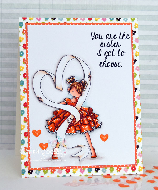 www.stampingbella.com: RUBBER STAMP USED : TINY TOWNIE RAVEN loves RIBBON, card made by Michele Boyer