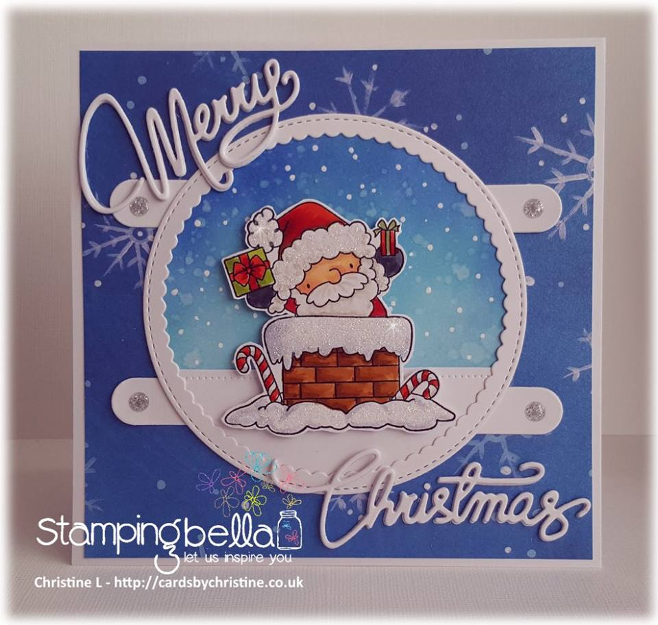 www.stampingbella.com:  rubber stamp used: THE LITTLES SANTA has ARRIVED, card made by Christine LEVISON