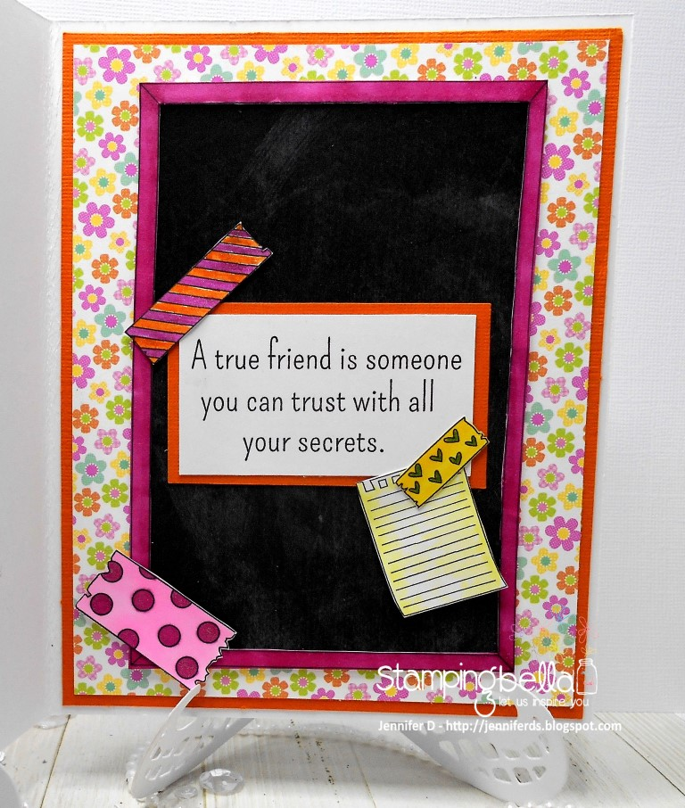 www.stampingbella.com: RUBBER STAMP USED: CORKBOARD BACKDROP, SNAPSHOTS I HAVE A SECRET, CARD BY JENNY DIX