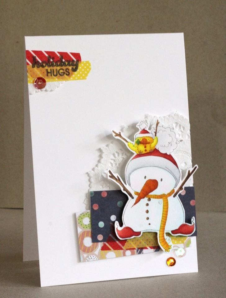 www.stampingbella.com: Rubber stamp used: SNOWMAN with a CHICK on TOP card made by Alice Wertz