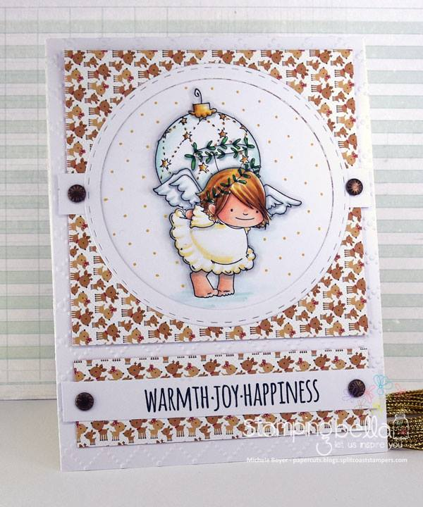 www.stampingbella.com:  rubber stamp used: SQUIDGY ANGEL with ornament, card made by Michele Boyer