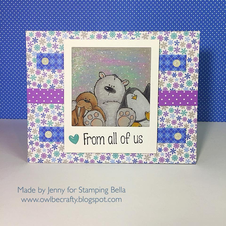 www.stampingbella.com:  rubber stamp used: THE WALRUS, THE POLAR BEAR and the PENGUIN, card made by Jenny Bordeaux