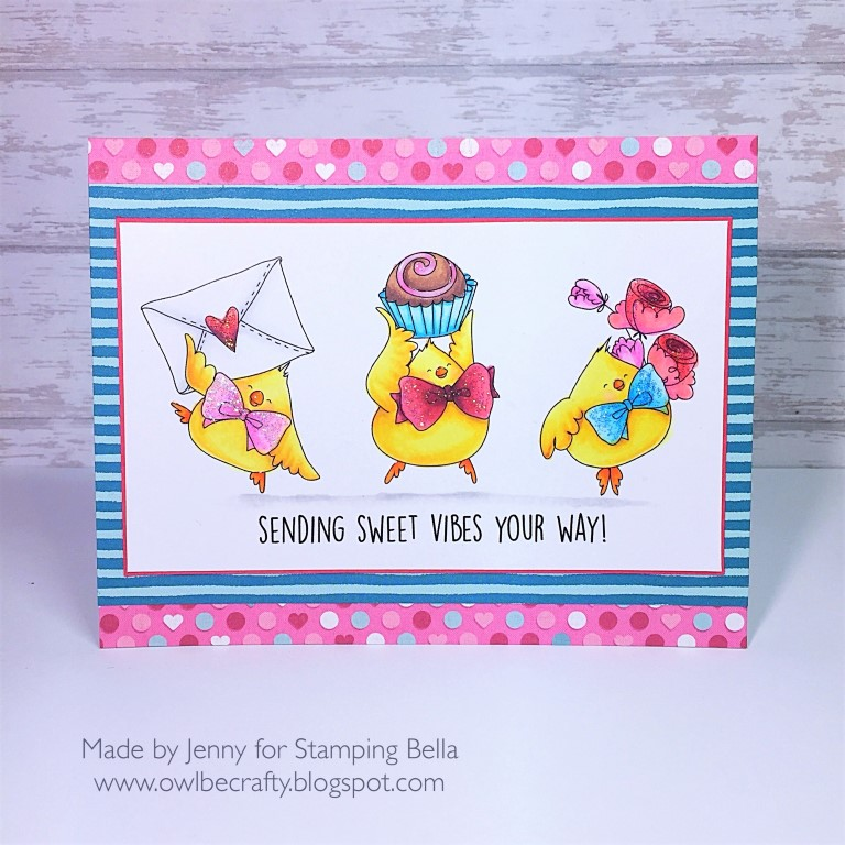 www.stampingbella.com: RUBBER STAMP USED : VALENTINE CHICKS, card made by JENNY BORDEAUX