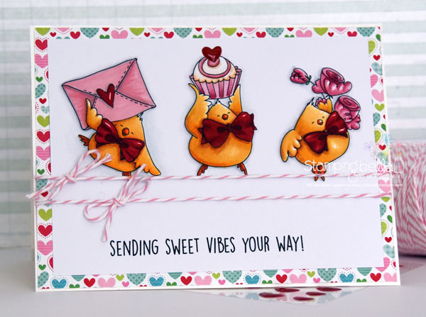 www.stampingbella.com: RUBBER STAMP USED : VALENTINE CHICKS, card made by MICHELE BOYER