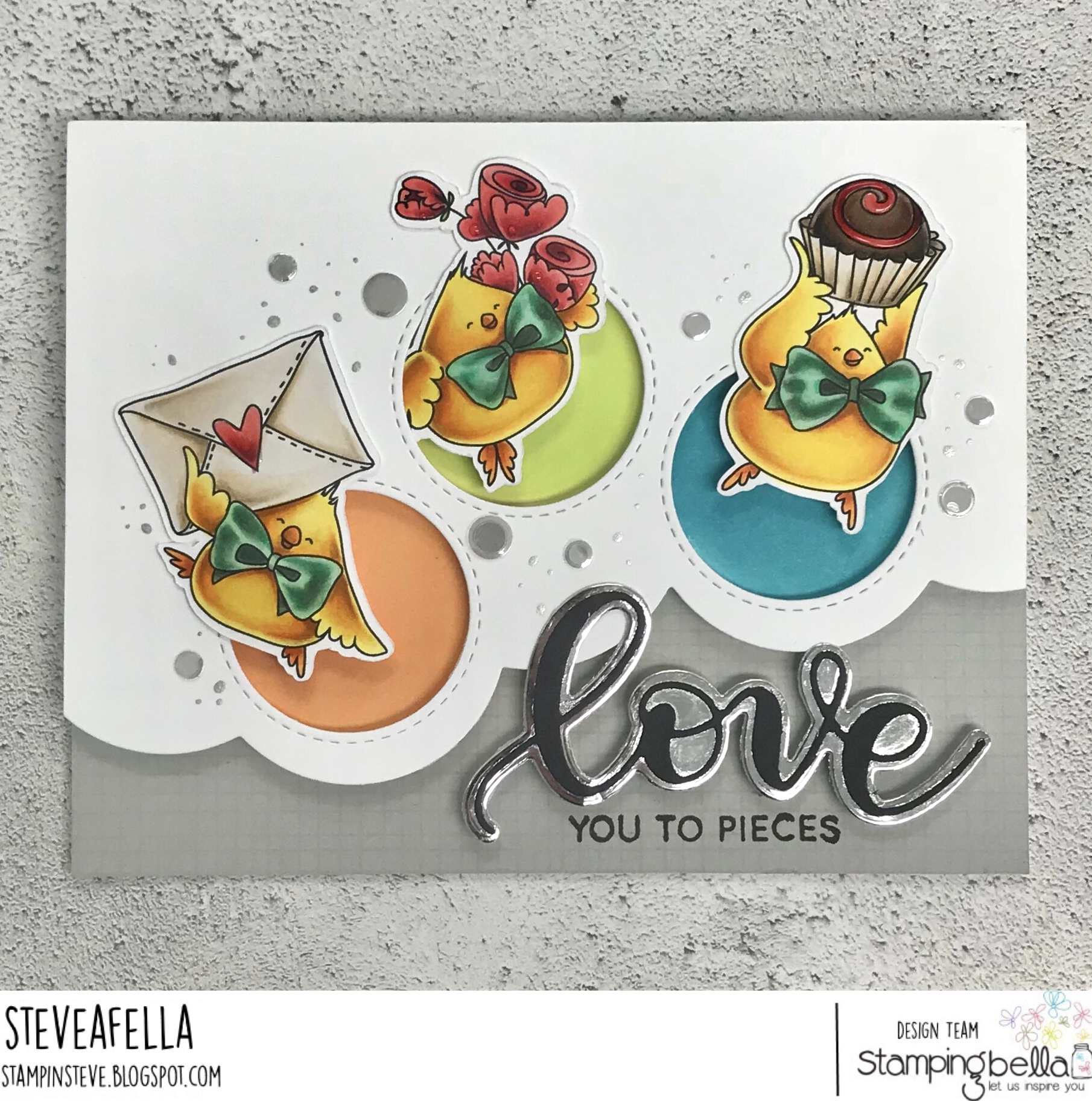 www.stampingbella.com: RUBBER STAMP USED : VALENTINE CHICKS, card made by STEPHEN KROPF