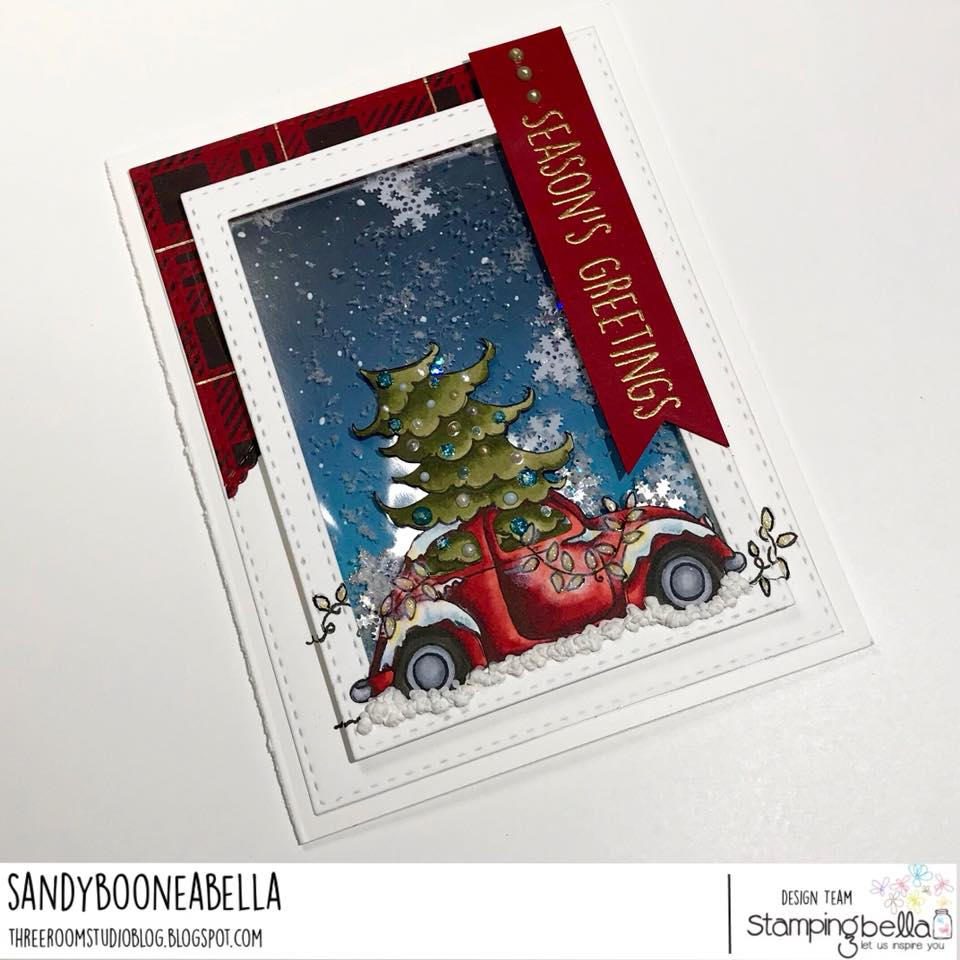 www.stampingbella.com: Rubber stamp used: CHRISTMAS BUG, card created by SANDY BOONE