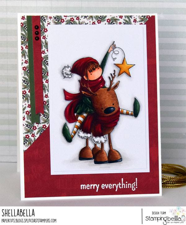 www.stampingbella.com: Rubber stamp used: TINY TOWNIE RITA and her REINDEER, card created by Michele BOYER
