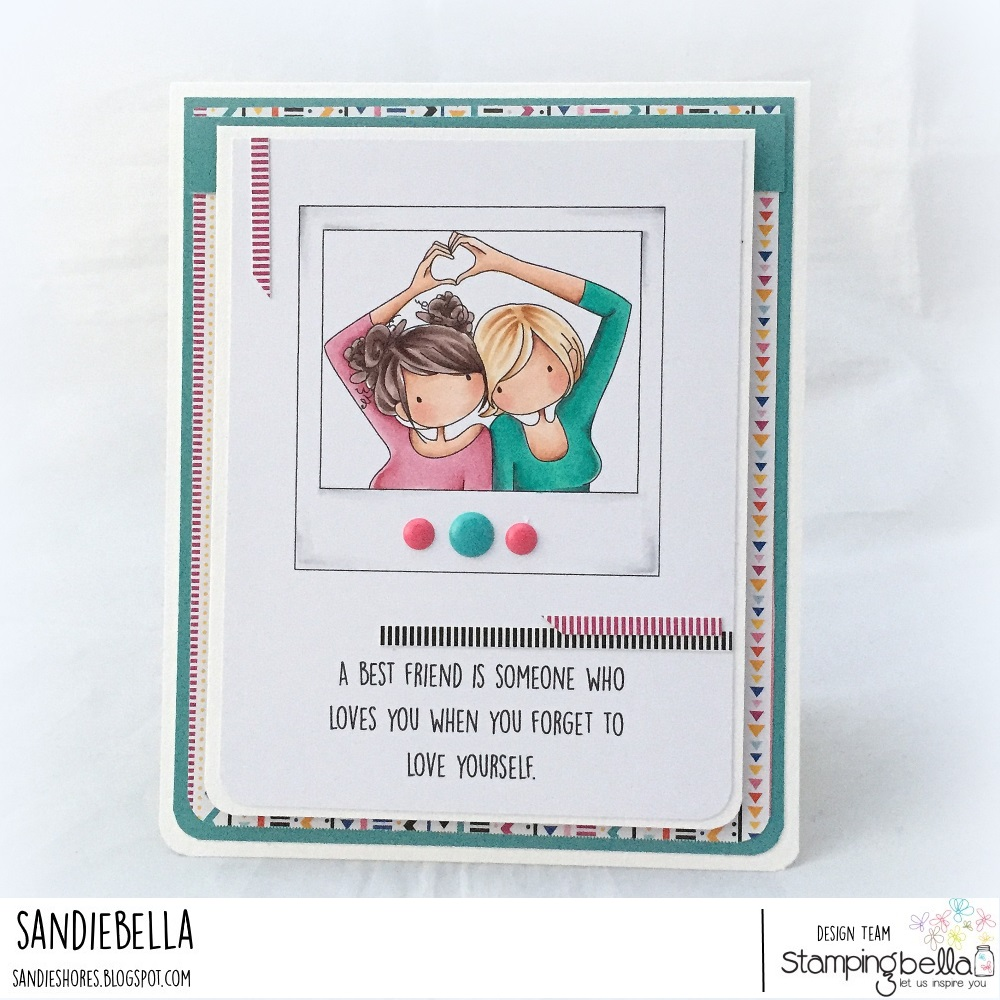 www.stampingbella.com- RUBBER STAMP USED: SNAPSHOTS I HEART YOU, card made by Sandie Dunne