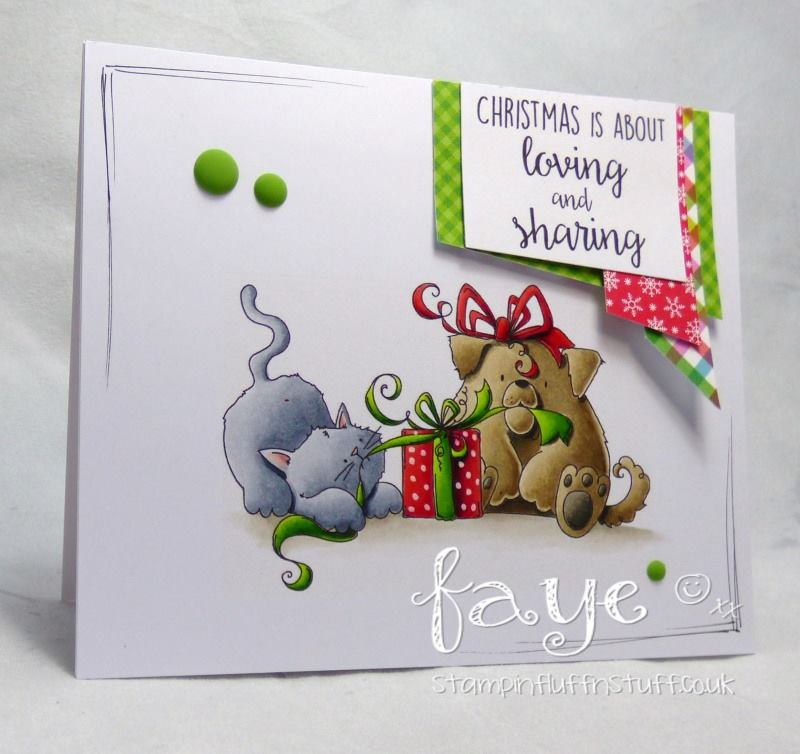 www.stampingbella.com: Rubber stamp used: CHRISTMAS TUG OF WAR, card by Fayeabella