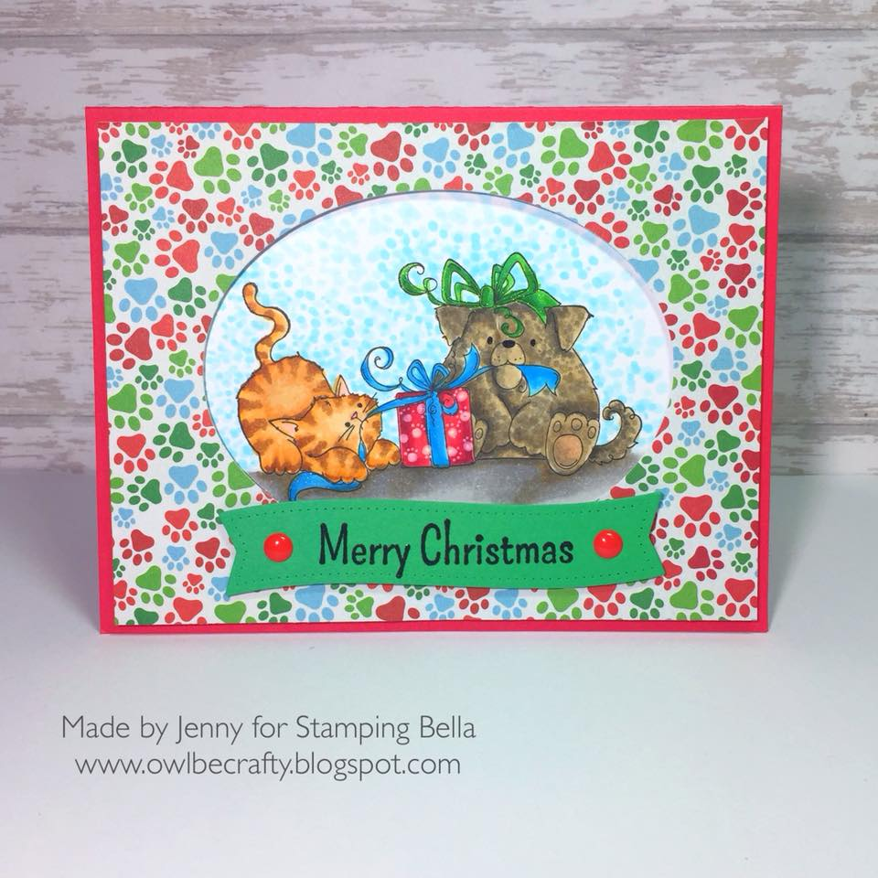 www.stampingbella.com: Rubber stamp used: CHRISTMAS TUG OF WAR, card by Jennybella