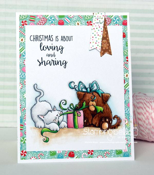 www.stampingbella.com: Rubber stamp used: CHRISTMAS TUG OF WAR, card by Michele Boyer