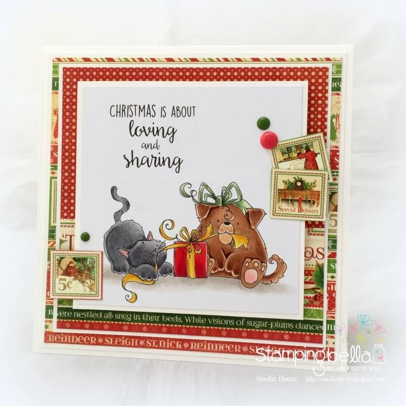 www.stampingbella.com: Rubber stamp used: CHRISTMAS TUG OF WAR, card by Sandie Dunne