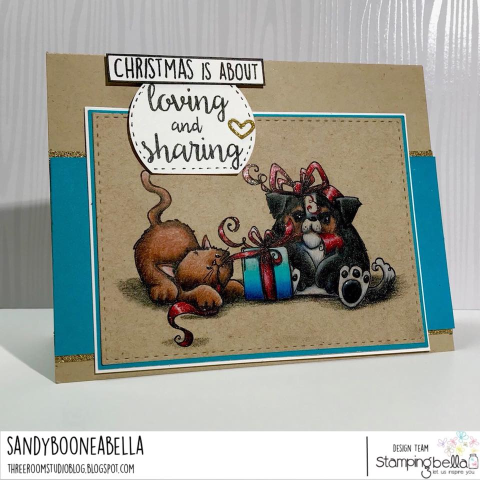 www.stampingbella.com: Rubber stamp used: CHRISTMAS TUG OF WAR, card by Sandy Boone