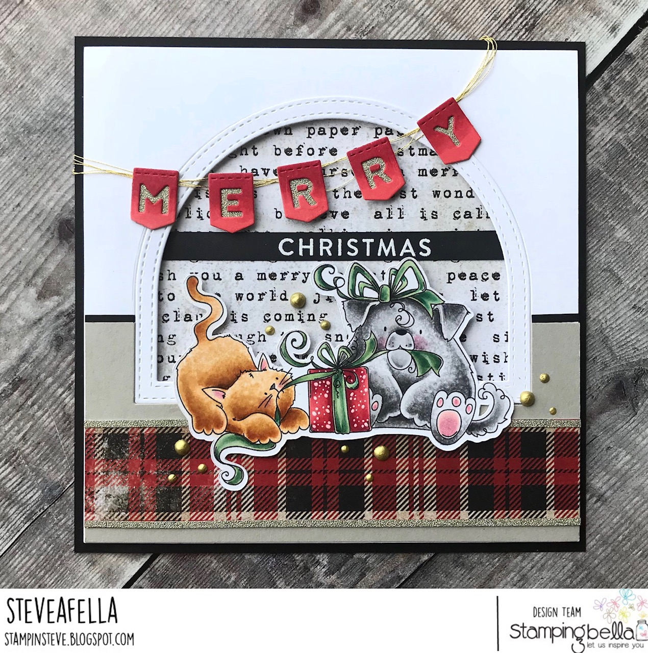 www.stampingbella.com: Rubber stamp used: CHRISTMAS TUG OF WAR, card by Stephen Kropf
