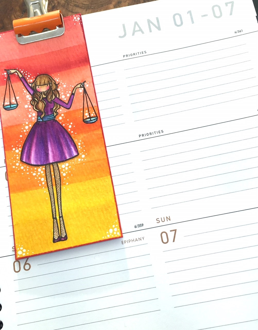 www.stampingbella.com: rubber stamp used: UPTOWN ZODIAC GIRL LIBRA card by KATHY RACOOSIN