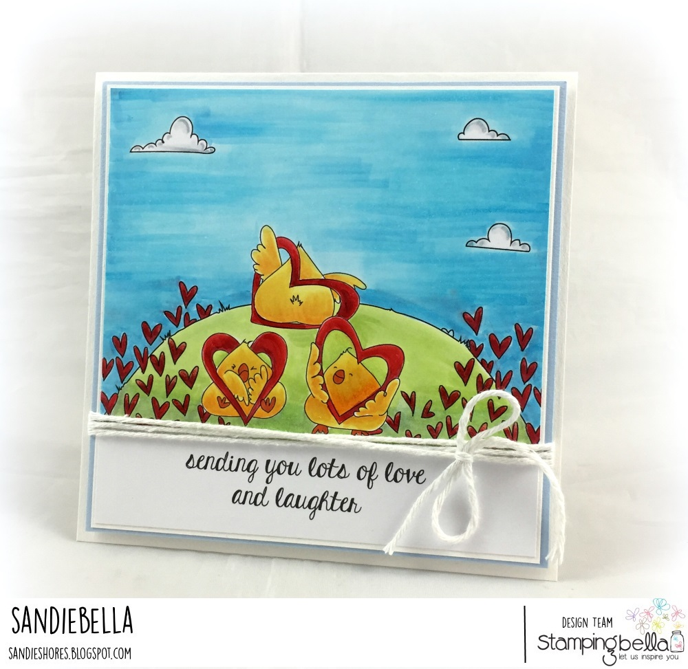 www.stampingbella.com: RUBBER STAMP USED: LOVE BACKDROP and HEARTY CHICKS, card by Sandie Dunne