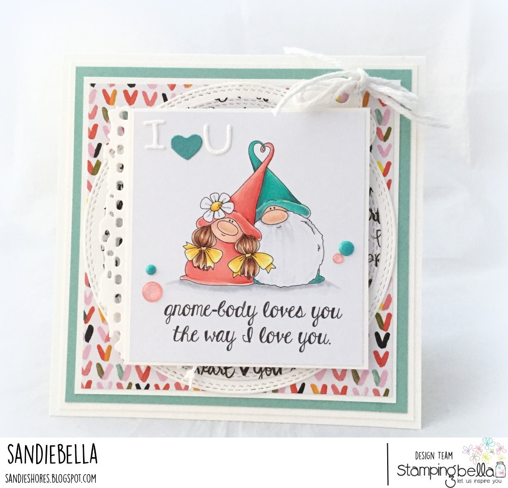 www.stampingbella.com- RUBBER STAMP USED: LOVEY GNOMES, card made by Sandie Dunne