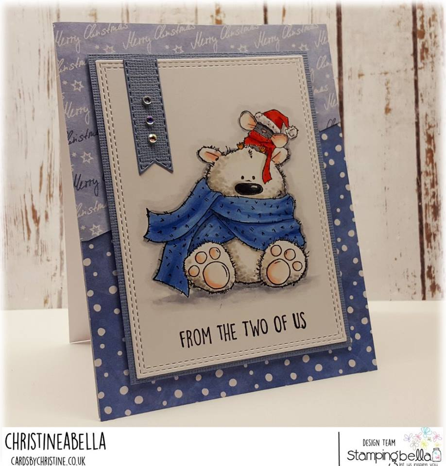 www.stampingbella.com: Rubber stamp used: POLAR BEAR AND MOUSIE, card created by Christine Levison