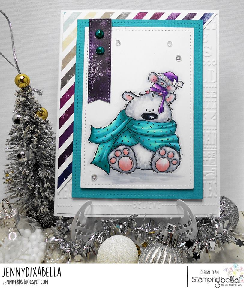 www.stampingbella.com: Rubber stamp used: POLAR BEAR AND MOUSIE, card created by JENNY DIX