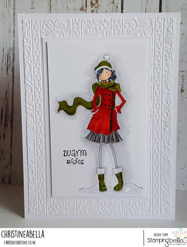 www.stampingbella.com: rubber stamp used:UPTOWN GIRL QUINN AND HER BOOTS, card by CHRISTINE LEVISON