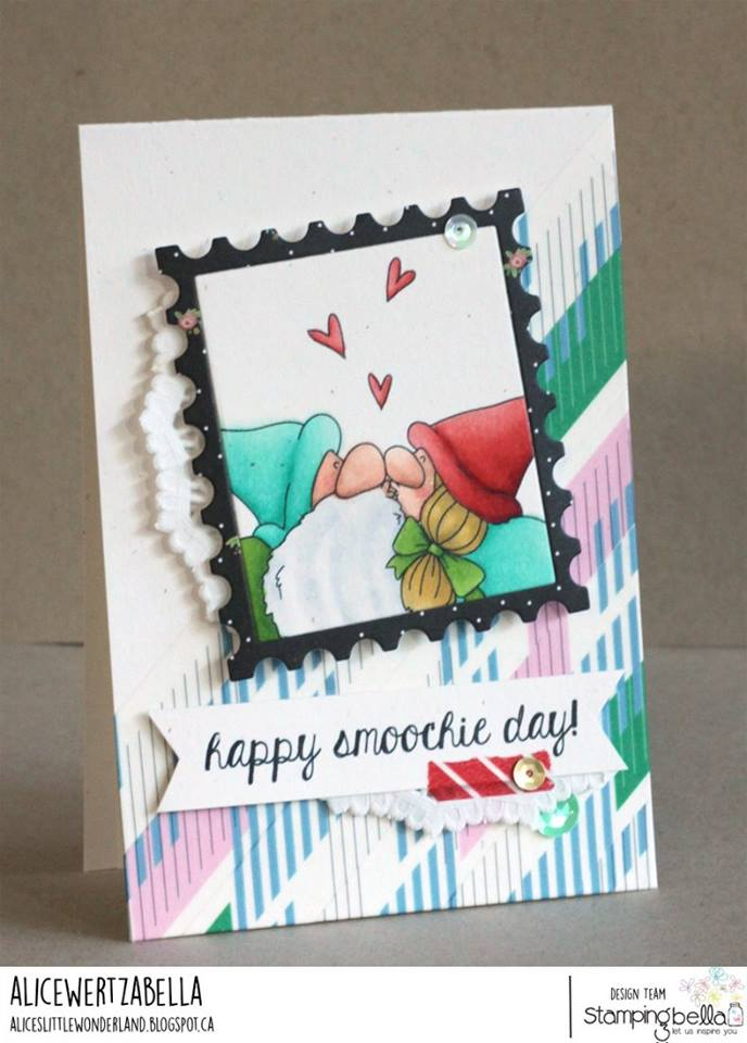 www.stampingbella.com: Rubber stamp used: SMOOCHIE GNOMES, card created by ALICE WERTZ