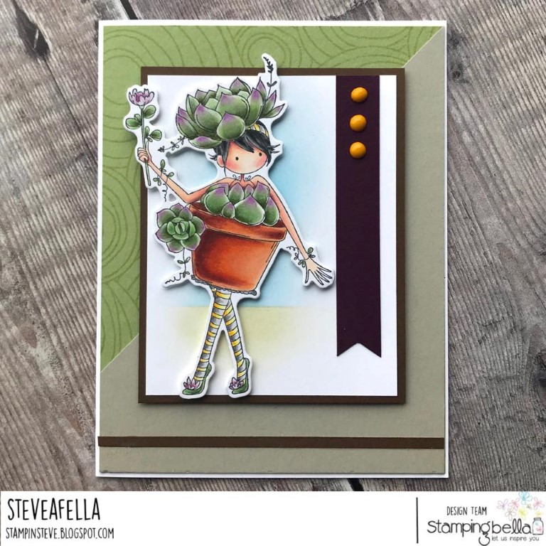 www.stampingbella.com: Rubber stamp used:TINY TOWNIE SUSIE the SUCCULENT, card created by Stephen Kropf