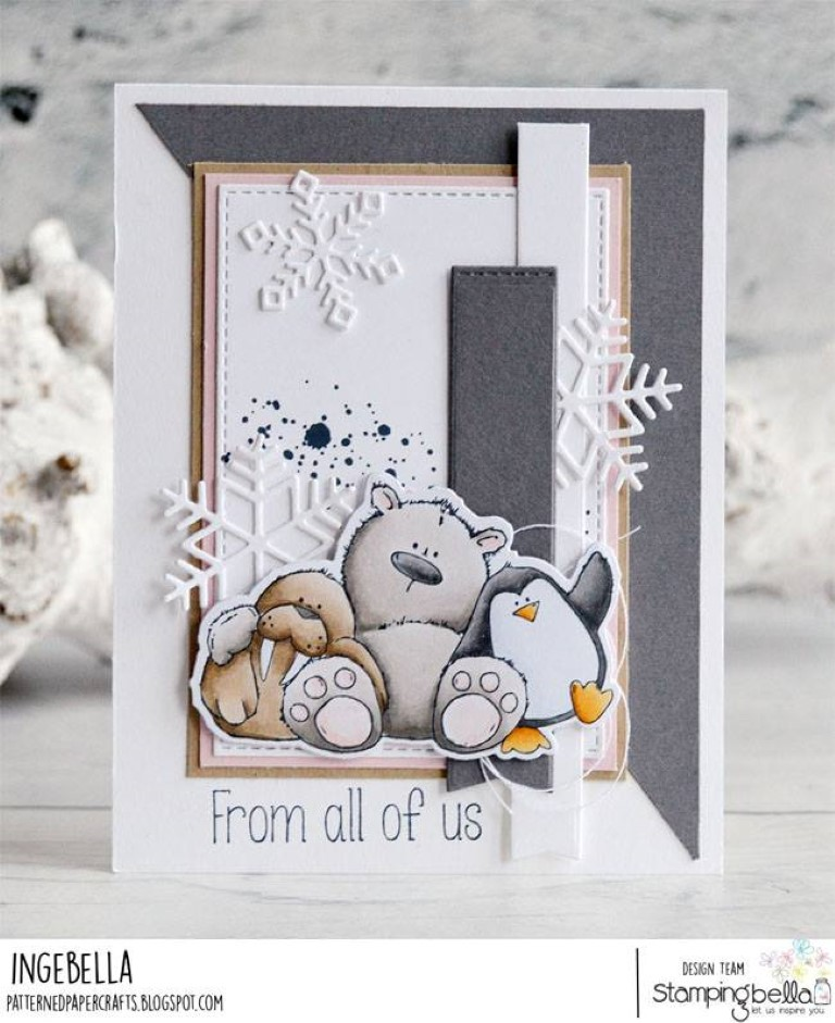 www.stampingbella.com: Rubber stamp used:THE WALRUS, THE POLAR BEAR and the PENGUIN, card created by Inge GROOT