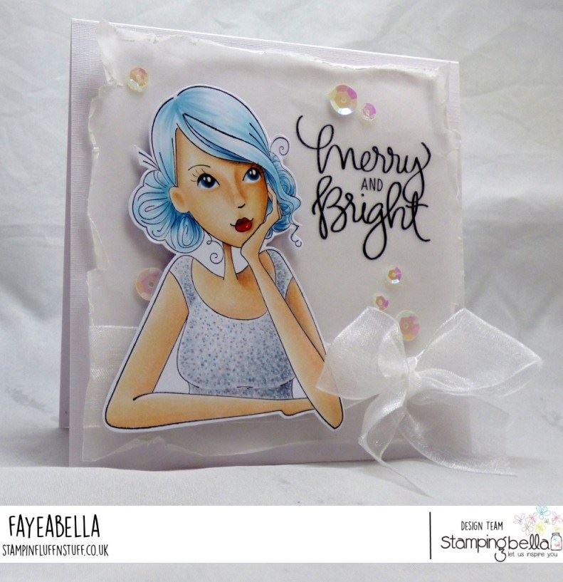 www.stampingbella.com: rubber stamp used:THINKINGOFYOUABELLA, card by FAYE WYNN JONES