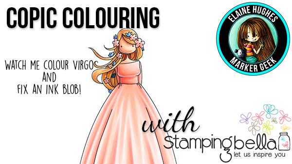 Stamping Bella Marker Geek Monday - Colouring Zodiac Girl Virgo & Fixing an Ink Blob