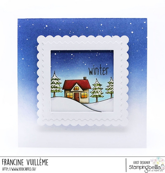 www.stampingbella.com: Rubber stamp used WINTER BACKDROP, card by Francine Vuilleme