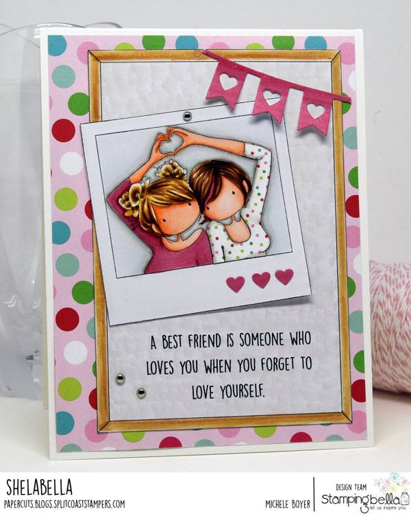 www.stampingbella.com: RUBBER STAMPS USED: SNAPSHOTS I HEART YOU, CORKBOARD BACKDROP, card by MICHELE BOYER