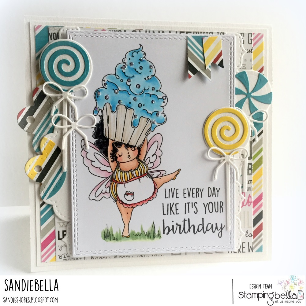 www.stampingbella.com: Rubber stamp used: Edna with a CUPCAKE on top.  Card by Sandie Dunne