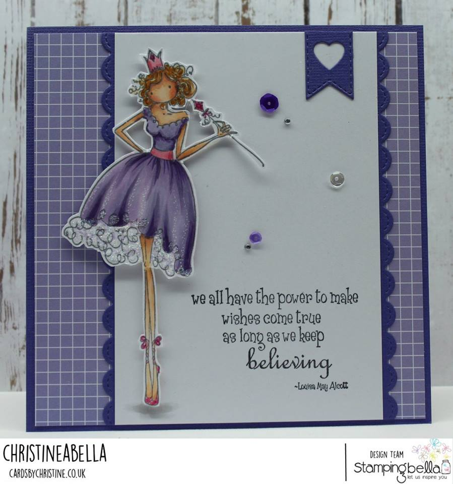 www.stampingbella.com: Rubber stamp used: UPTOWN GIRL FAITH THE FAIRY.  Card by Christine Levison