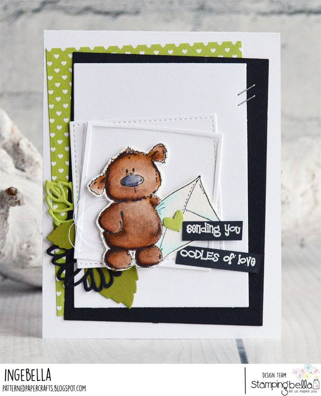 www.stampingbella.com: Rubber stamp used: HARRY loves HAPPY MAIL STUFFIE.  Card by Inge Groot