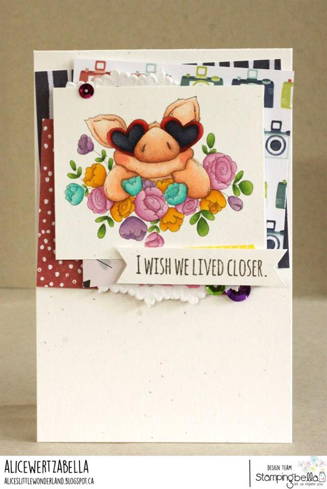 www.stampingbella.com: Rubber stamp used: PETUNIA'S IN LOVE.  Card by Alice Wertz