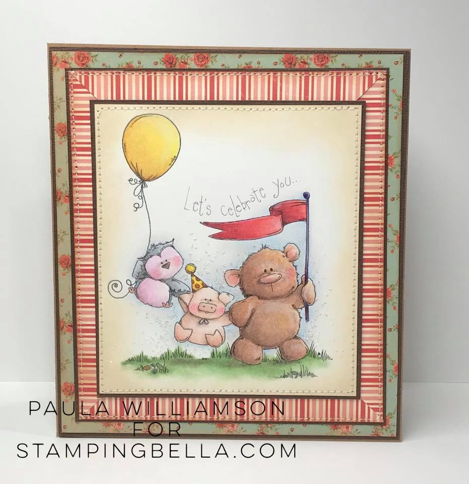 www.stampingbella.com: Rubber stamp used: THE STUFFIE GANG.  Card by Paula Williamson