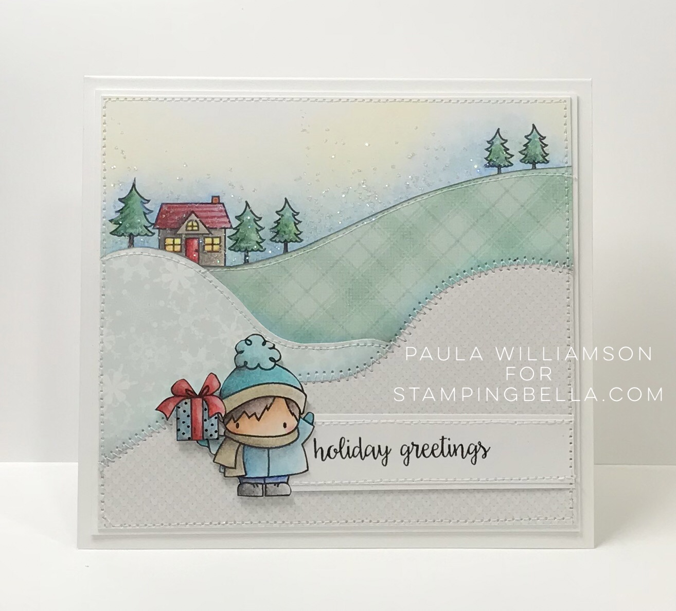 all rubber stamps available at www.stampingbella.com : rubber stamps used here: WINTER BACKDROP and LITTLE BITS FIGURE SKATERS and Holiday sentiments set . card by Paula Williamson