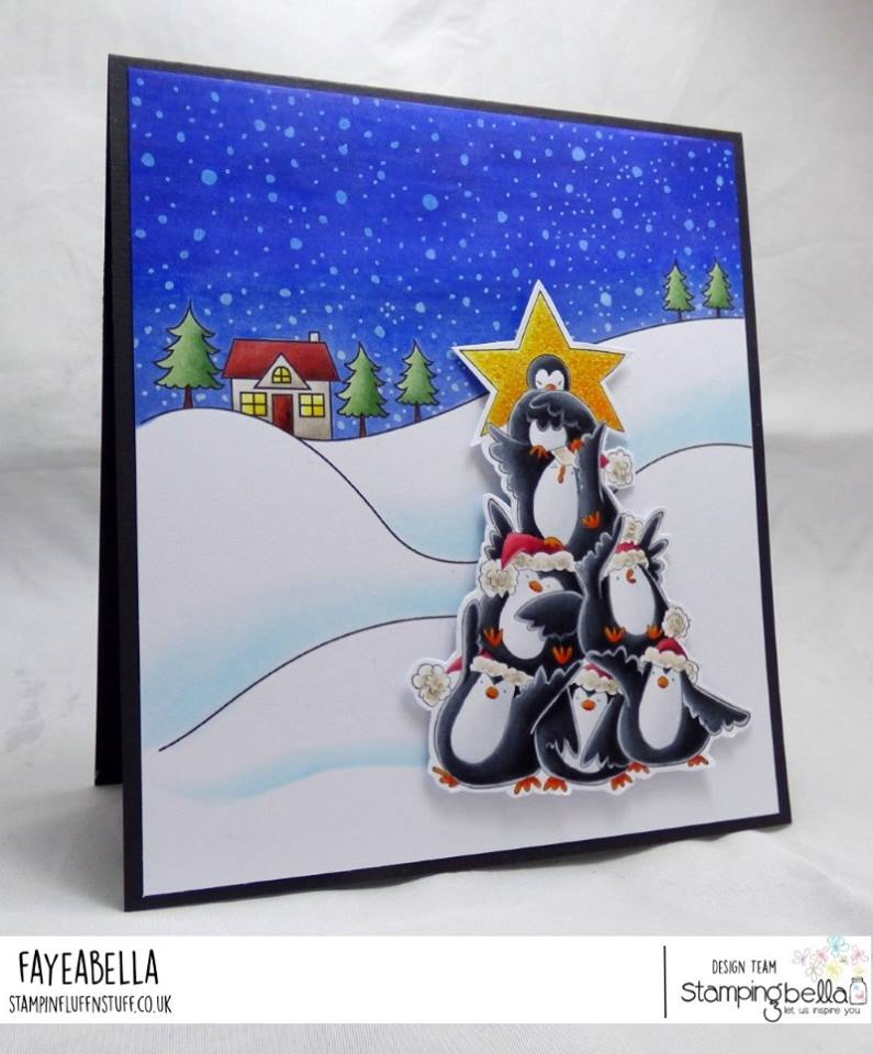 all rubber stamps available at www.stampingbella.com : rubber stamps used here: WINTER BACKDROP and THE CHICK TREE RUBBER STAMP AND CUT IT OUT DIE . card by FAYE WYNN JONES
