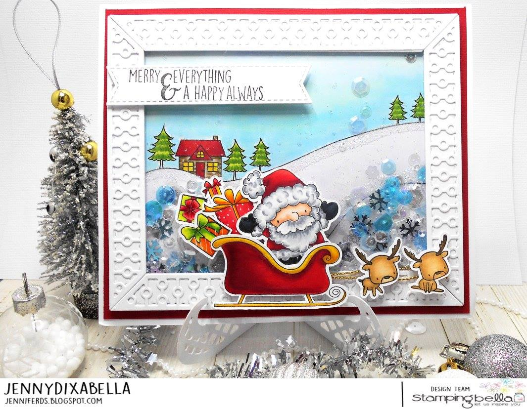all rubber stamps available at www.stampingbella.com : rubber stamps used here: WINTER BACKDROP and LITTLE BITS SANTA'S GIFTS set AND CUT IT OUT DIE . card by Jenny Dix