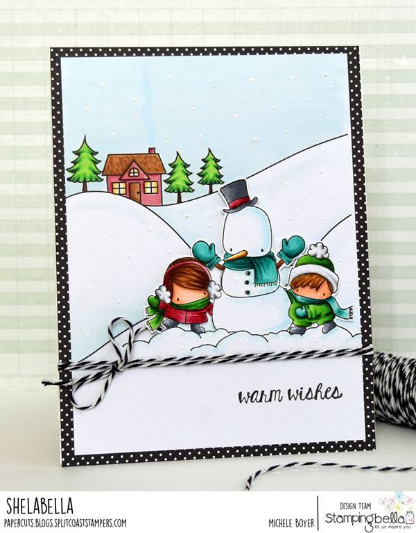 all rubber stamps available at www.stampingbella.com : rubber stamps used here: WINTER BACKDROP and THE LITTLES SNOWMAN LOVE RUBBER STAMP and Holiday sentiments set . card by MICHELE BOYER