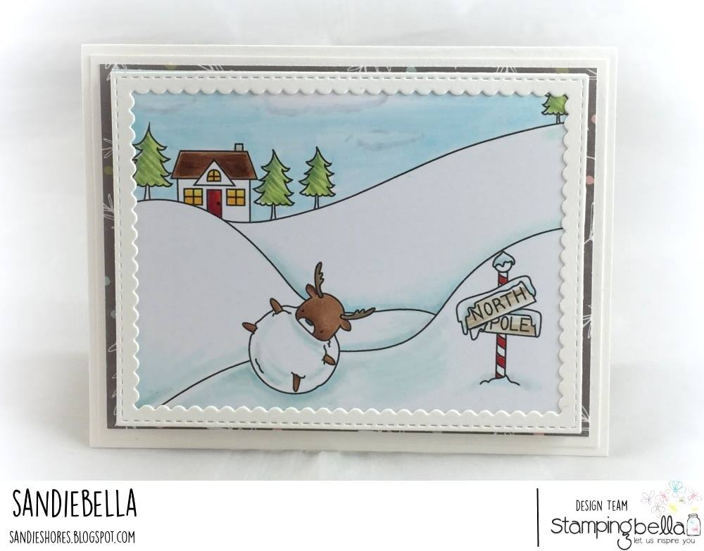 all rubber stamps available at www.stampingbella.com : rubber stamps used here: WINTER BACKDROP and LITTLE BITS WINTER TREE and DEERBALL and SKATING QUARTET. card by SANDY DUNNE