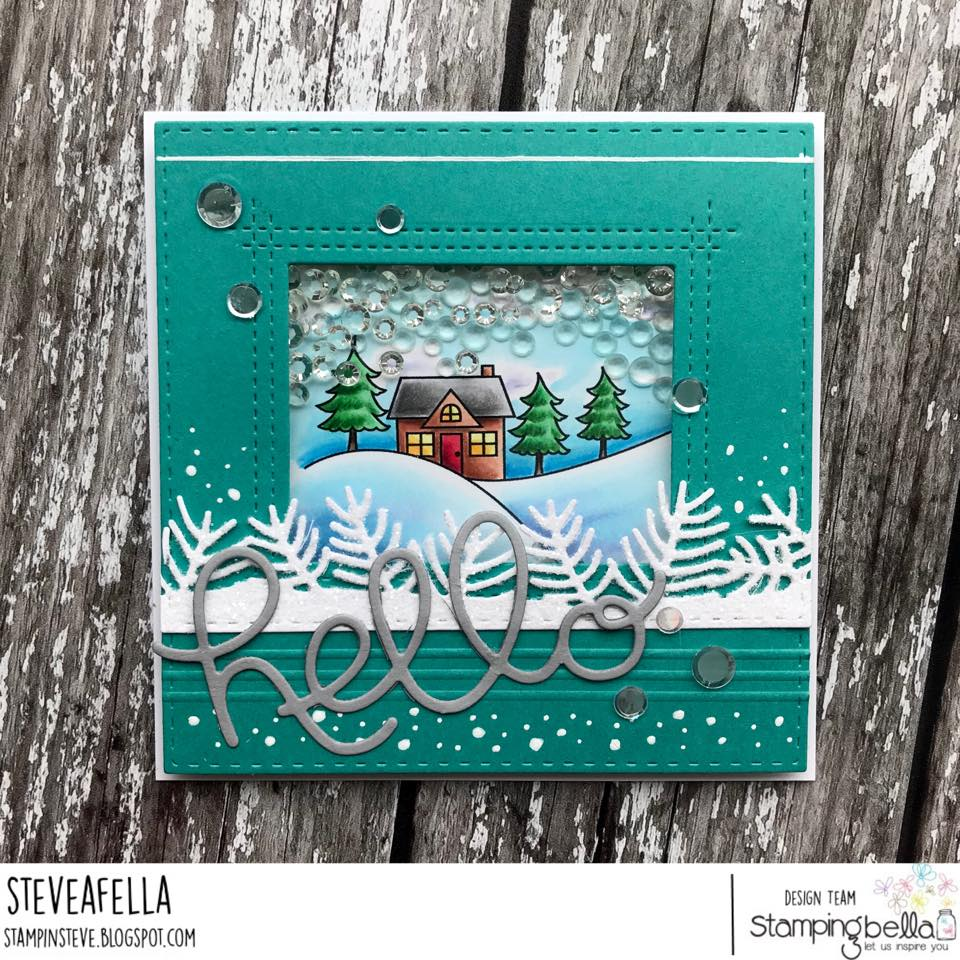 all rubber stamps available at www.stampingbella.com : rubber stamps used here: WINTER BACKDROP . card by Stephen Kropf