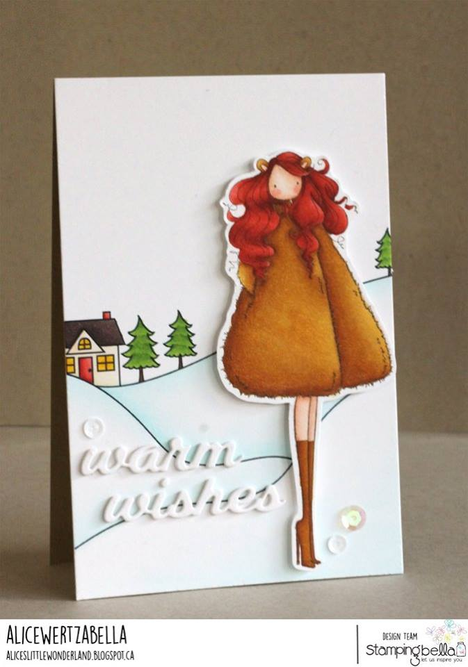 all rubber stamps available at www.stampingbella.com : rubber stamps used here: WINTER BACKDROP and UPTOWN ZODIAC GIRL LEO . card by ALICE WERTZ