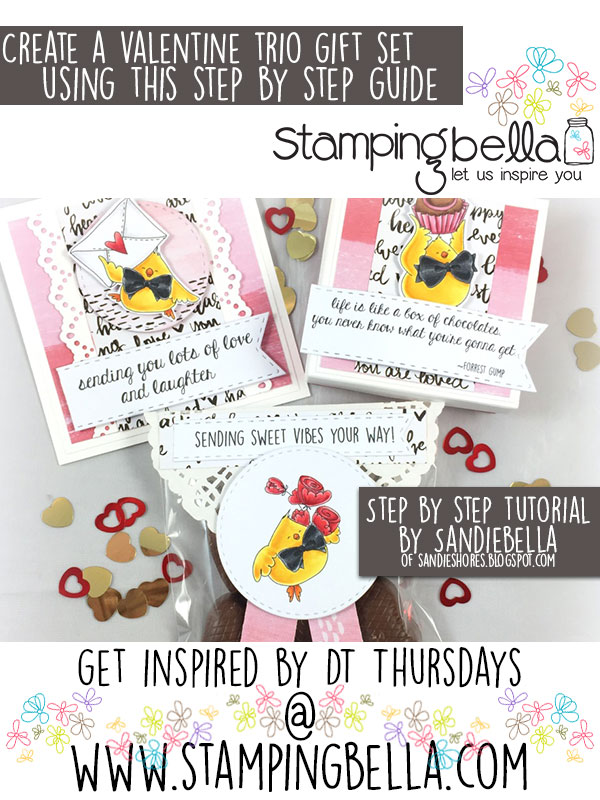 Stamping Bella DT Thursday - Create a Sweet Valentine Trio Gift Set with Sandiebella