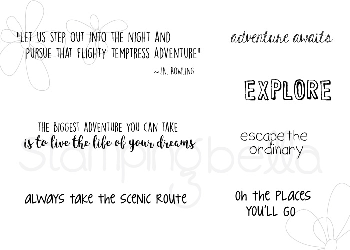 www.stampingbella.com- SNEAK PEEK day 1- ADVENTURE SENTIMENT SET rubber stamp
