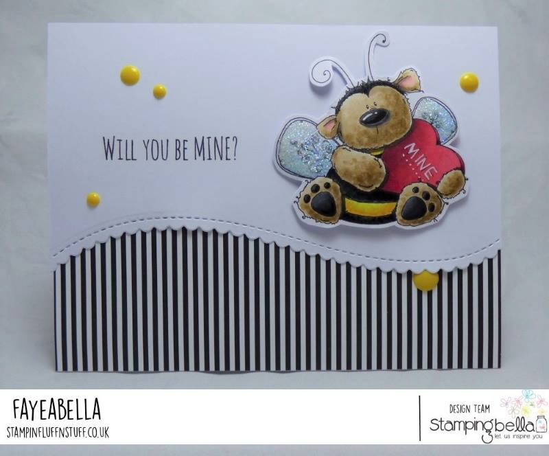 www.stampingbella.com: Rubber stamp used: BEE MINE card by Faye Wynn Jones