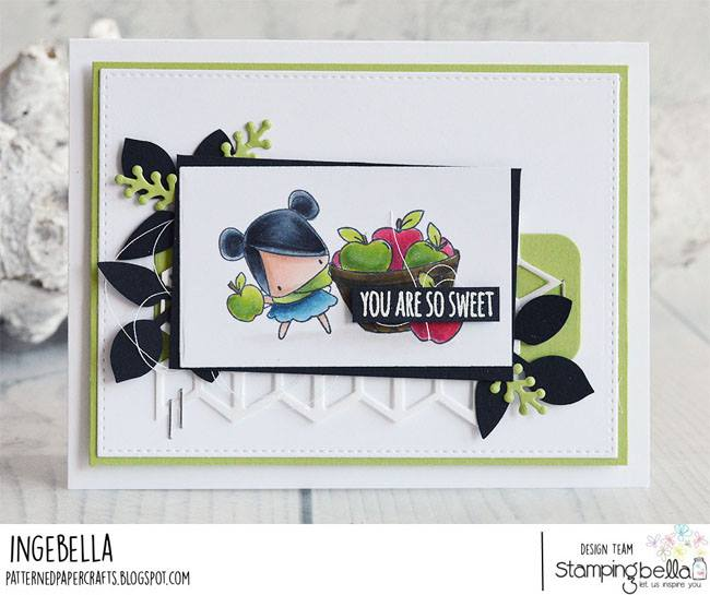 all stamps and CUT IT OUT dies are available at www.stampingbella.com- Stamp used LITTLES APPLE PICKING, card by Inge Groot