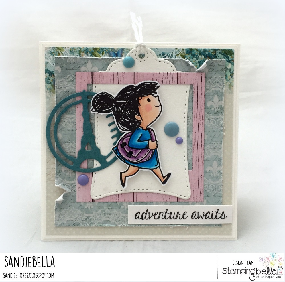 www.stampingbella.com: Rubber stamps used: A tale of TWO rosies, Adventure Sentiment Set CARD BY Sandie Dunne