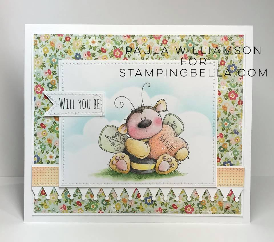 www.stampingbella.com: Rubber stamp used: BEE MINE card by Paula Williamson